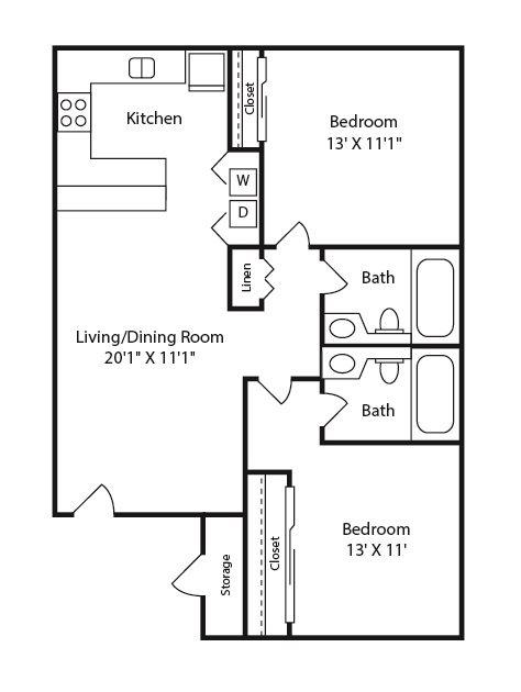 Two Bedroom Two Bath Floor Plan 1