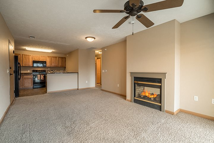 Large living space with fireplace and natural lighting at Grand Legacy Apartments