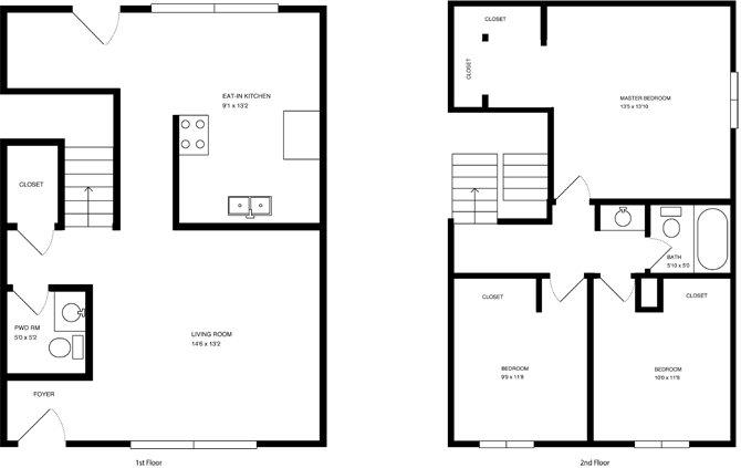 3 Bedroom 2 Bath Townhome Floor Plan 3