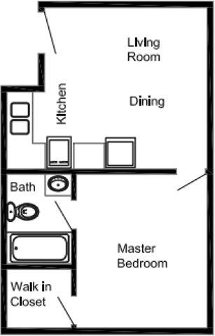 1 Bedroom 1 Bath Apartment Floor Plan 4