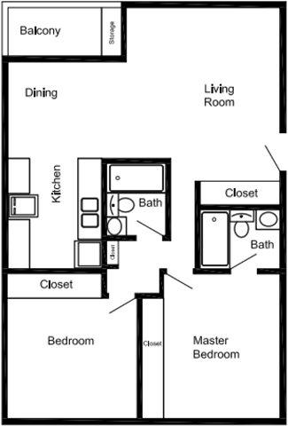 2 Bedroom 2 Bath Apartment Floor Plan 5