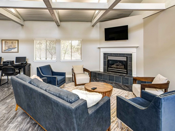 Clubhouse lounge with modern furniture and gray wood floors  and fire place