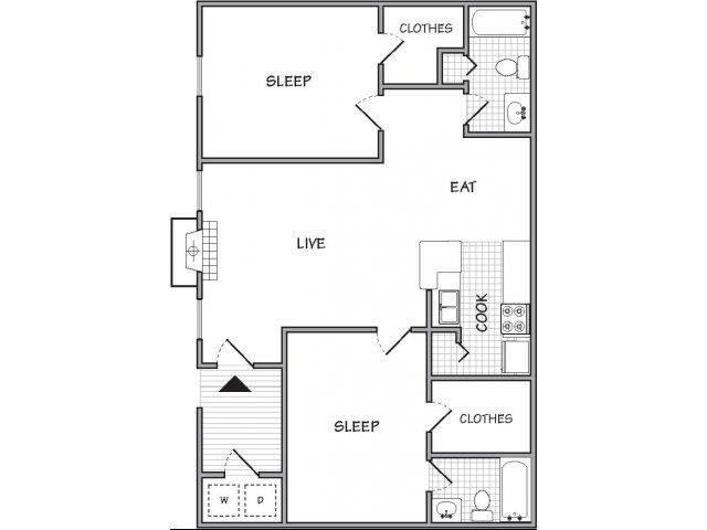 floor plan 2 Bed - 2 Bath, 924 sq ft, The Angelica (P)