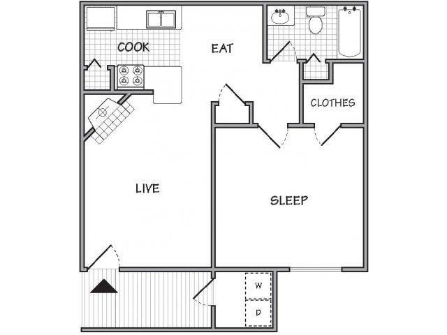 floor plan 1 Bed - 1 Bath, 651 sq ft, The Cayenne (P)