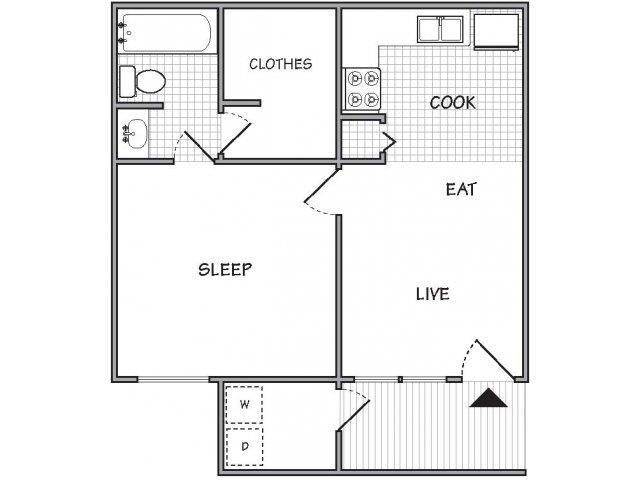 floor plan 1 Bed - 1 Bath, 550 sq ft, The Peppercorn (P)