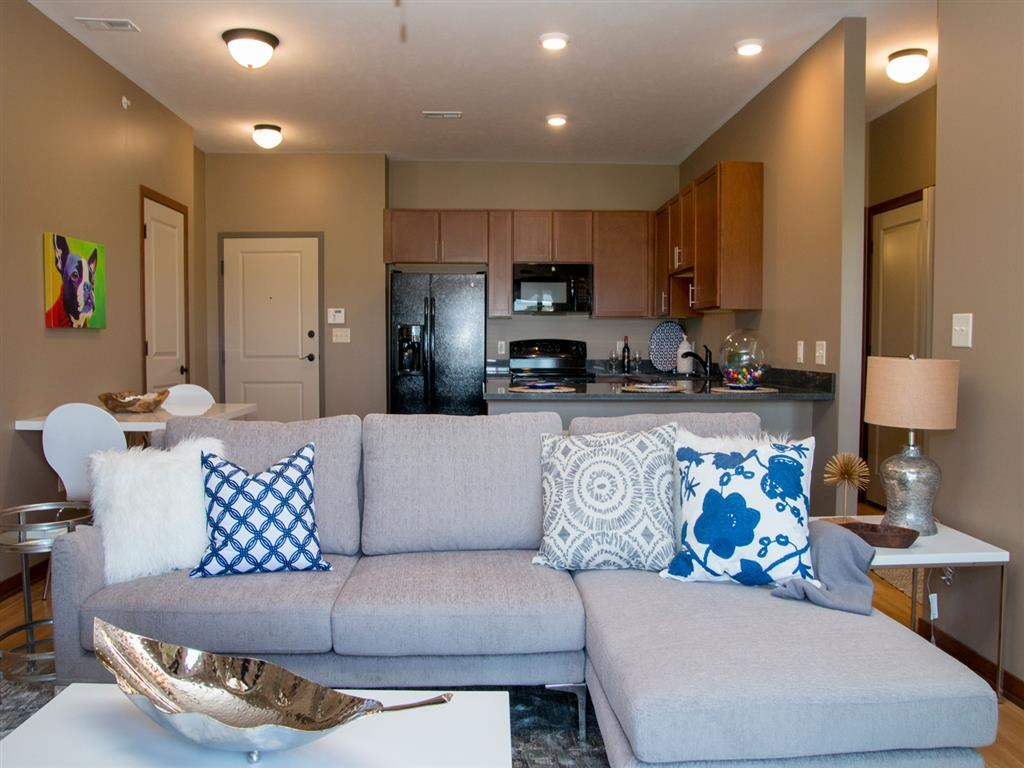 Living room with open floorplan at The Flats at 84 in southeast Lincoln NE 68516