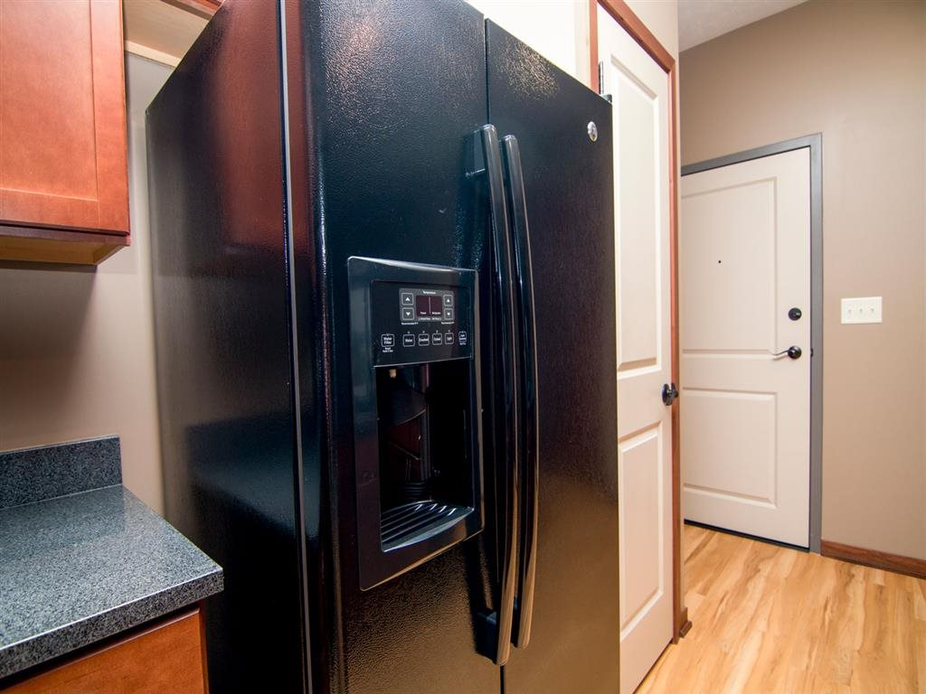 Refrigerator with built-in ice maker at The Flats at 84 apartments in Lincoln NE