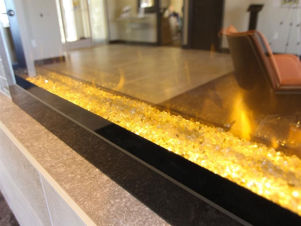 Modern fireplace at The Flats at 84 apartments in Lincoln NE