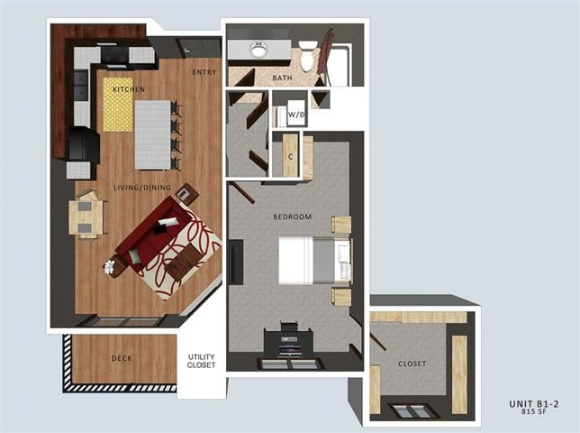 Bedford II one bedroom one bathroom floor plan at The Flats at 84
