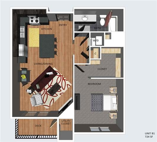 Bedford one bedroom one bathroom floor plan at The Flats at 84