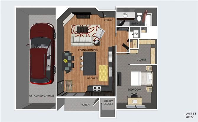 Belgrave one bedroom one bathroom floor plan at The Flats at 84
