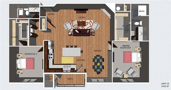 Bloomsbury two bedroom two bathroom floor plan at The Flats at 84