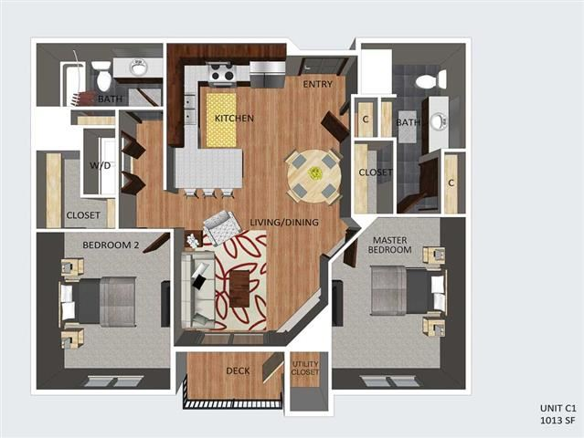 Chatham two bedroom two bathroom floor plan at The Flats at 84