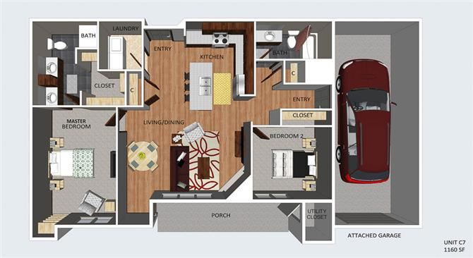 Chelsea two bedroom two bathroom floor plan at The Flats at 84