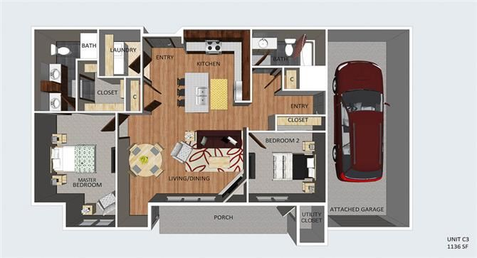 Chester two bedroom two bathroom floor plan at The Flats at 84
