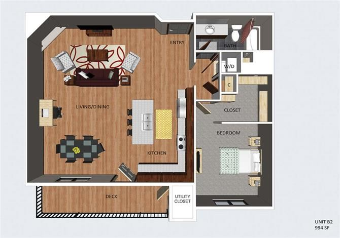 Hampstead one bedroom one bathroom floor plan at The Flats at 84