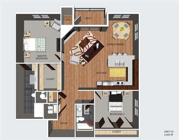 Howden two bedroom two bathroom floor plan at The Flats at 84