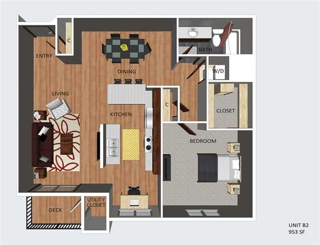 Kendal one bedroom one bathroom floor plan at The Flats at 84