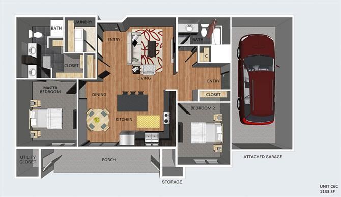 Leads II two bedroom two bathroom floor plan at The Flats at 84