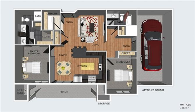 Leads I two bedroom two bathroom floor plan at The Flats at 84