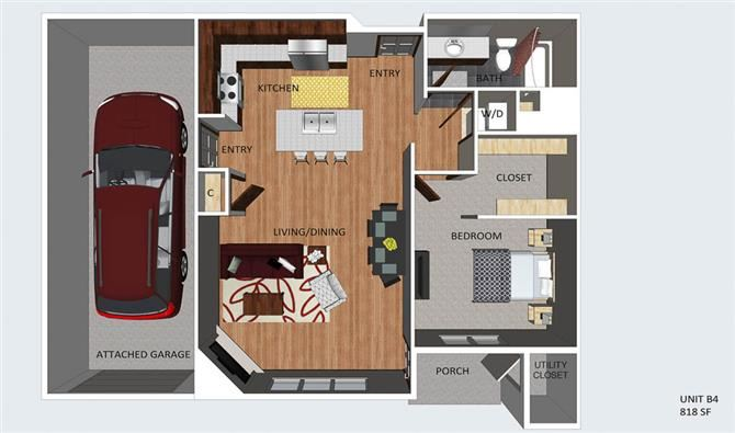 Mayfair one bedroom one bathroom floor plan at The Flats at 84