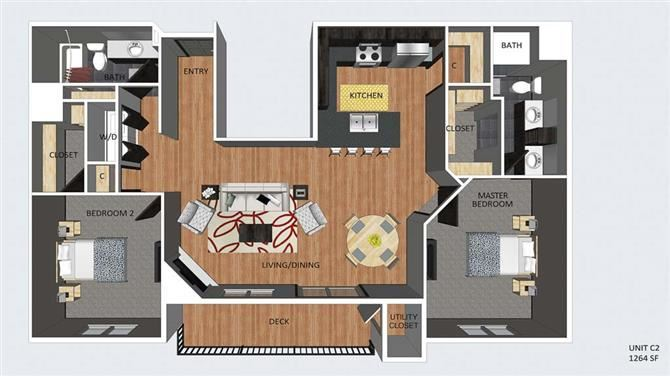 Notting Hill two bedroom two bathroom floor plan at The Flats at 84