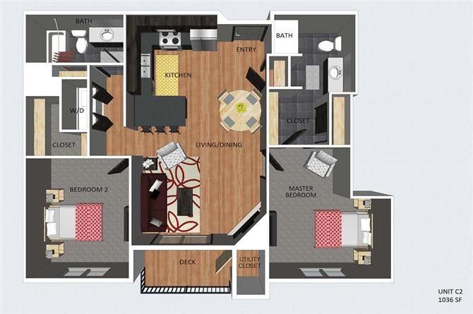 Rothwell two bedroom two bathroom floor plan at The Flats at 84