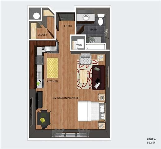 Soho studio one bathroom floor plan at The Flats at 84