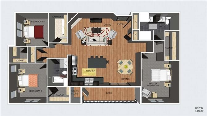 Westminster three bedroom two bathroom floor plan at The Flats at 84