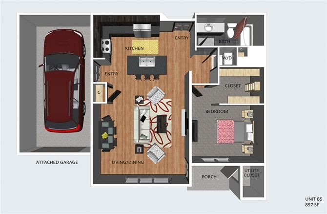 Wiltshire one bedroom one bathroom floor plan at The Flats at 84