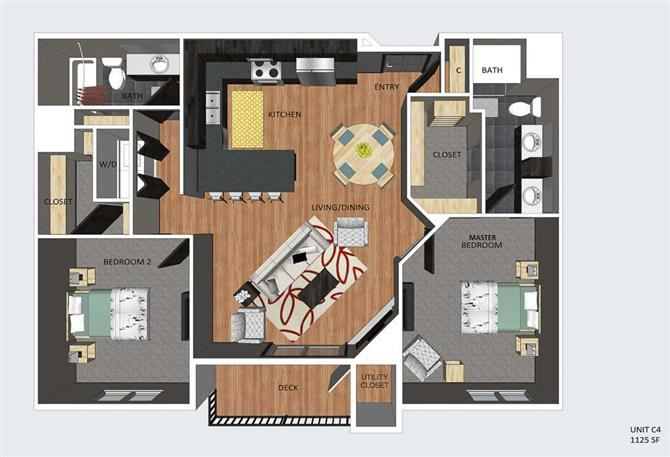 York two bedroom two bathroom floor plan at The Flats at 84