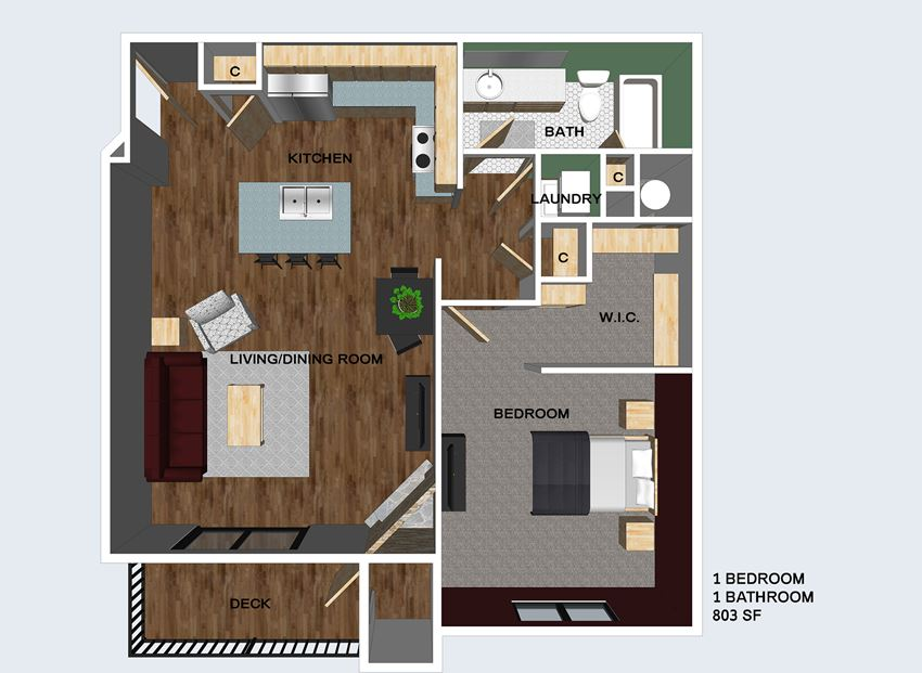Newcastle one bedroom one bathroom floor plan at The Flats at 84