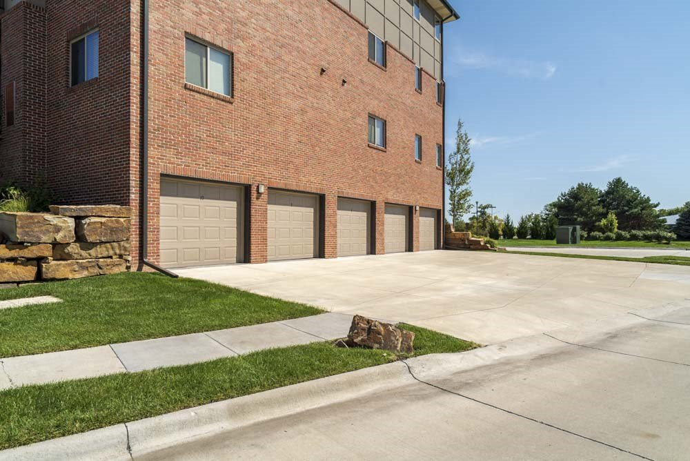 Attached garages at The Flats at 84 in southeast Lincoln NE 68516