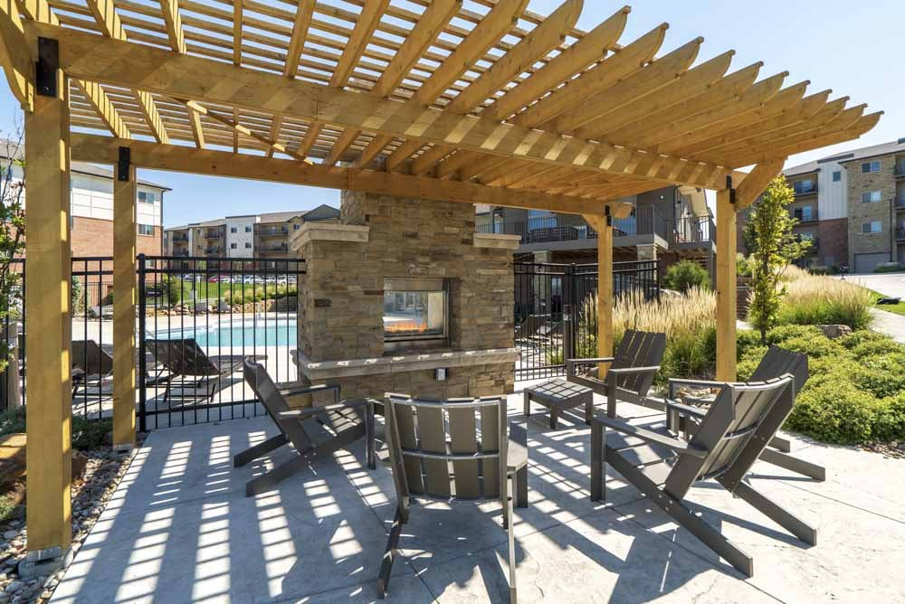 Pergola with seating at The Flats at 84 in southeast Lincoln NE 68516