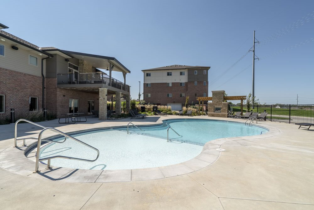 Resort-style pool at The Flats at 84 in southeast Lincoln NE 68516