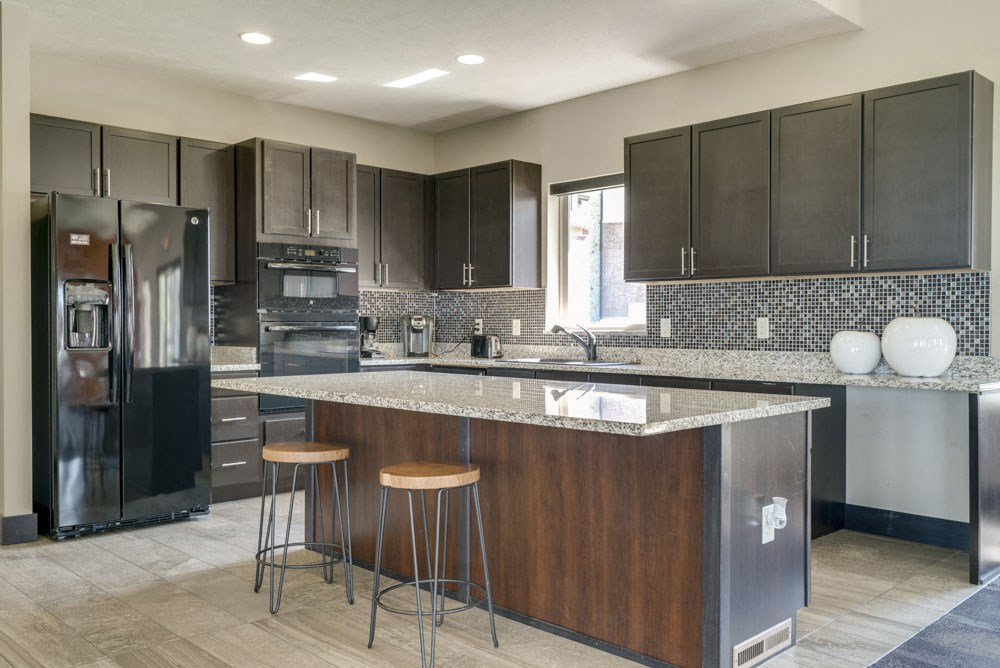 Clubhouse kitchen at The Flats at 84 in southeast Lincoln NE 68516