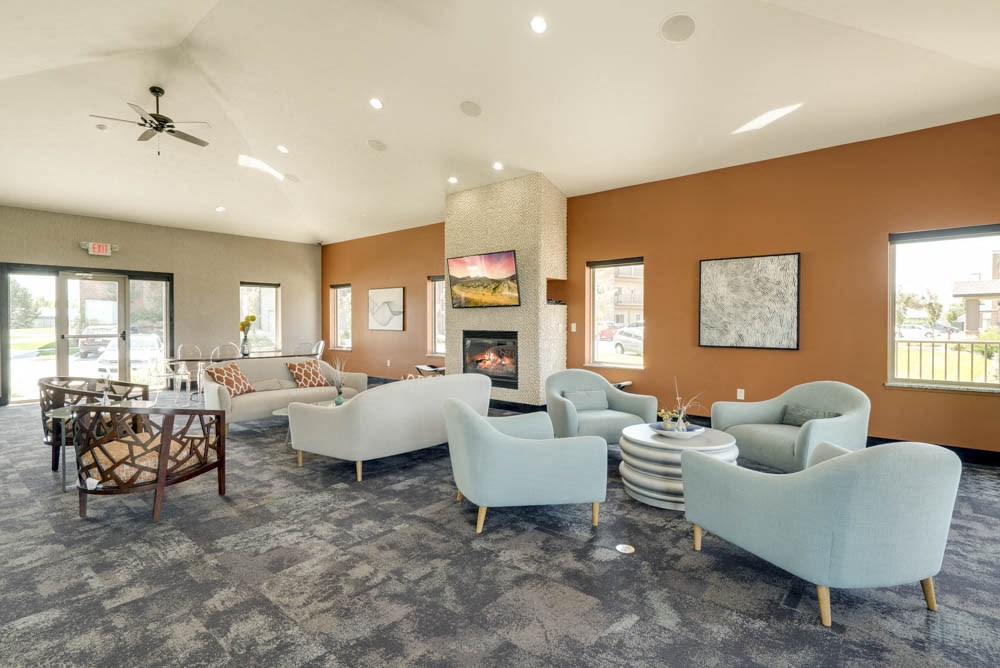 Clubhouse lounge seating at The Flats at 84 in southeast Lincoln NE 68516