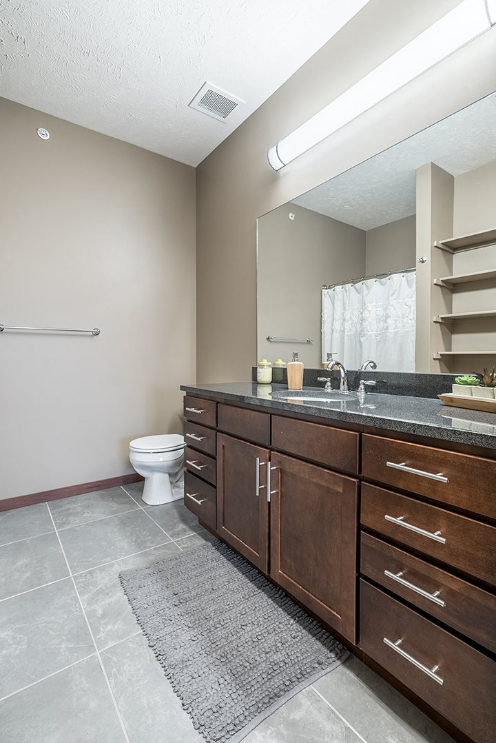 Interiors- Bathroom with large vanity for extra storage at the Villas of Omaha Butler Ridge in Omaha NE