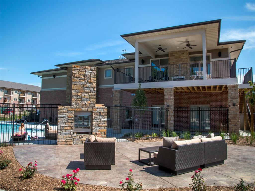 Outdoor fireplace and lounge at Villas of Omaha at Butler Ridge in Omaha NE