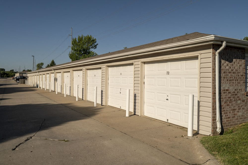 Detached garages at Highland View Apartments in north Lincoln NE 68521
