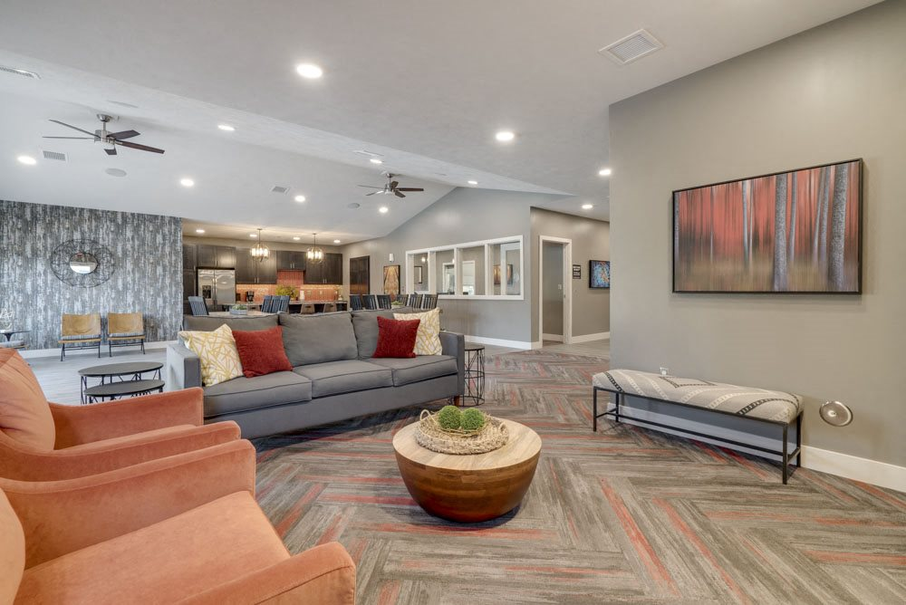 Clubhouse interior at Highland View Apartments in north Lincoln NE 68521