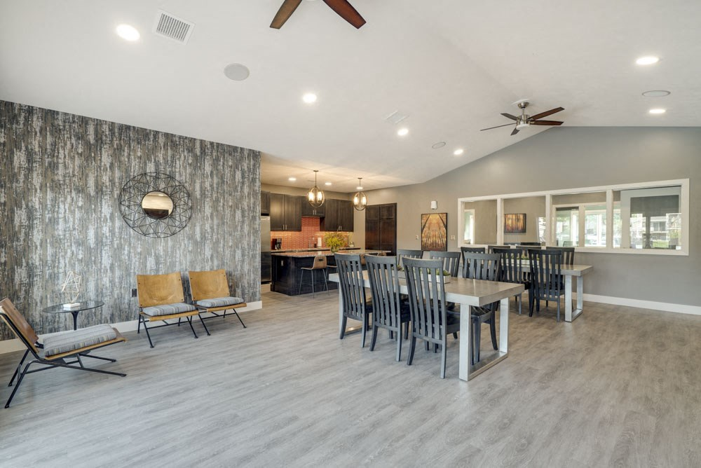 Clubhouse social spaces at Highland View Apartments in north Lincoln NE 68521
