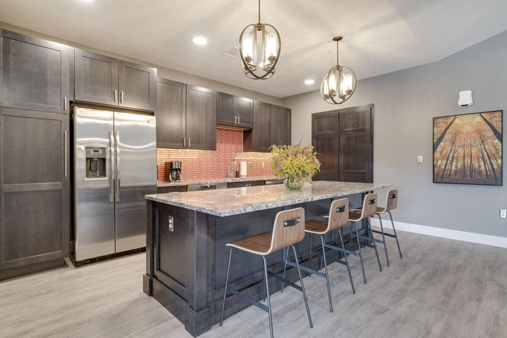 Clubhouse kitchen at Highland View Apartments in north Lincoln NE 68521