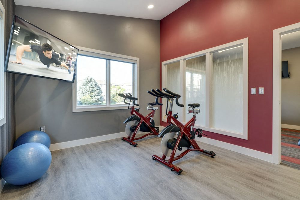 Yoga/spin studio at Highland View Apartments in north Lincoln NE 68521