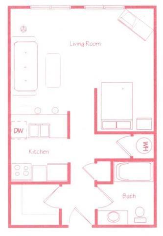 Bonsai studio one bathroom floor plan at Highland Park