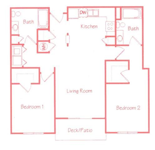 Cypress two bedroom two bathroom floor plan at Highland View