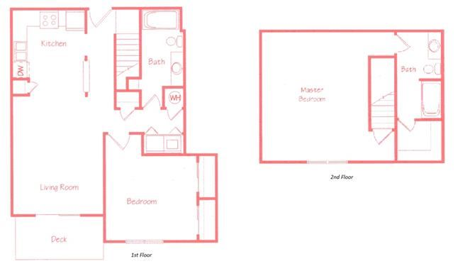 Evergreen two bedroom two bathroom floor plan at Highland View