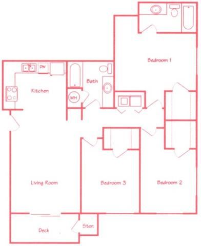 Hickory three bedroom two bathroom floor plan at Highland View