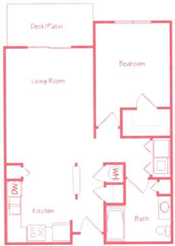 Maple one bedroom one bathroom floor plan at Highland View