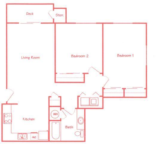 Oak two bedroom one bathroom floor plan at Highland View